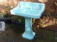 Turquoise Pedestal Basin c/w taps