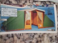 Large vintage canvas 4 man tent with sleeping inner tents x 2 and lots of spares