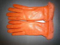 Orange Sermoneta Italian leather gloves with rabbit skin lining - Size 7 NEW