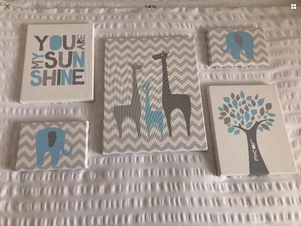 Baby Boy Nursery Canvas Wall Art Prints Set Of Five Hand Made Cost 75 Excellent Condition