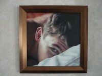 "Framed Oil painting with certificate ""Caught Out"" by the artist XT, created in 1999. 34 x 34cm"