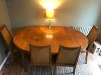 Original G-Plan 6-8 seater extendable dining table with 6 leather/wood chairs