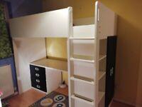 IKEA STUVA loft bed with desk, wardrobe, and shelving storage