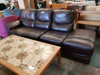Large Brown four seater Leather Sofa
