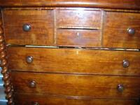 "VICTORIAN MAHOGANY ""OGEE"" HIGHBOY CHEST OF DRAWERS1850 SCOTLAND"""