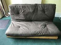 Double sofa bed, brown futon