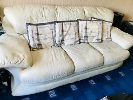 Rochester Ivory leather sofa 3 seater
