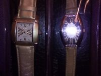 BIJOUX TERNER LADIES WATCHES X 2 , NEW IN PLASTIC DISPLAY CASES , NEVER OPENED , NEW VINTAGE STYLE