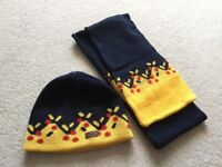 Men's KB Tako yellow and blue beanie hat & scarf One Size