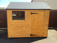 8 X 6 BRAND NEW JUST BUILT WOODEN SHED APPEX ROOF /WINDOW 8 MM THICK