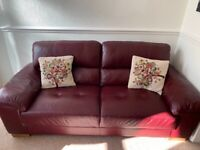 Leather sofa burgundy & 2 chairs