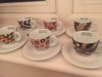 A very rare set of 6 Italian porcelain double-walled espresso cups and saucers