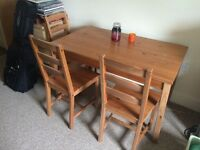 IKEA wooden dining table and 4 matching chairs
