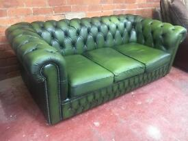 Green Chesterfield Leather 3 Seater Sofa - UK Delivery