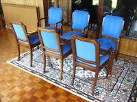 Six walnut 1920s-1930s carver chairs fully restored and reupholstered to original style and design