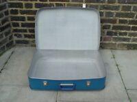 FREE DELIVERY Vintage Blue Suitcase Retro Mid Century