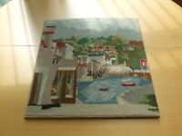 Wool tapestry painting and heavy glazed tray with tapestry insert