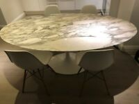 Eero Saarinen *ORIGINAL* Large Oval Dining Table Arabescato Marble Top