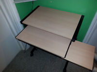 SOLID COMPUTER DESK, 3 TIERS ON WHEELS - NICE CONDITION