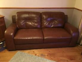 3 seater leather sofa & armchair