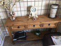 Solid wood 3 drawer console table & matching lamp table