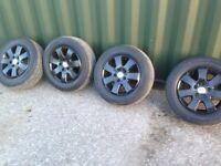 """VW Transporter T5 Alloy wheels & Tyres 16"""" Factory Alloys Sprayed Black £200"""