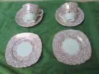 TWO Peppermint Green & Gold filigree vintage Bone China Colclough Cup, Saucer & Plate TEA set TRIOS