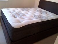 Kingsize bed for sale. Memory foam topped mattress & ottoman. Low usage, as new