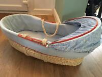 Baby Blue Moses Basket, excellent condition