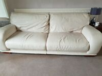 3 seater and 2 seater crema leatjer sofas