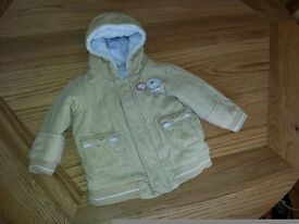 Lovely Beige hooded jacket/anorak from Marks&Spencer- 6-9 months great condition
