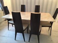 Solid large marble dining table and 6 chairs