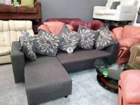 Grey fabric corner sofa for 95 pounds bargain