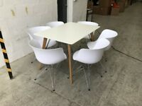 White 120 x 80cm Rectangle Dining Table with 6 White Dining Chairs