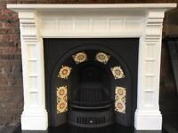 33D DEL £25 max most uk vintage fireplace/ genuine antique fire surround original Victorian tiles