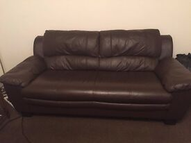 Real genuine leather brown two sofas