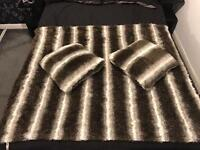 Large brown & white faux fur throw & pillows