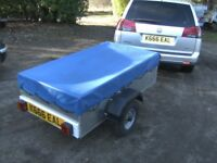 AS NEW VERY RARE 5X3 ALLOY BUILT GOODS TRAILER WITH COVER.............