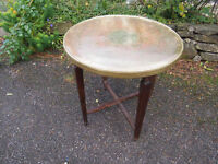 Lovely Attractive Moroccan Style Brass/Gold Colour Top Side/Tray Table with Wooden Folding Base