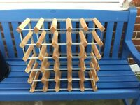 30 bottle wood and metal wine rack