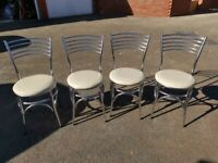 4 Chrome & Cream Faux Leather Chairs FREE DELIVERY 4048