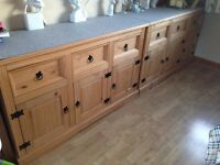 nearly new Mercers Furniture Corona Mexican Pine Large 3 Door 3 Drawer Sideboard