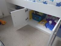 Kids blue and white cabin bed