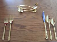 83 piece Gold stainless steel cutlery set