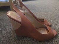 Brown leather wedges, size 5.5 (38)
