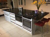 Black granite kitchen island unit