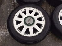 """SET OF 5 (INCLUDING SPARE) AUDI A4 WHEELS & TYRES 16"""""""