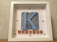 Boy's name frame, birthday, naming day, christening or just room decor