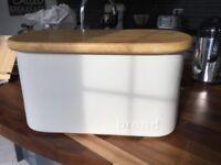 Cream bread bin with wooden lid