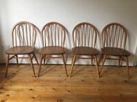 Ercol Hoopback Kitchen Dining Chairs x 4 Natural Colour Light Wear and Marks